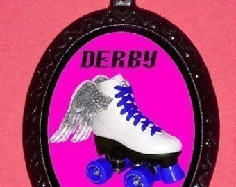 Roller Derby Girl Roller Skating Necklace Pendant ballchain Angel Wings Skate Derby Wife Sweetheartsinner