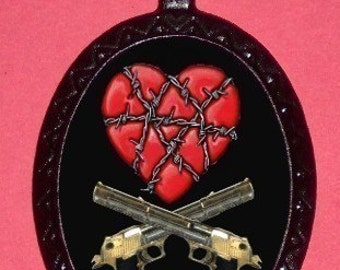 Barbed Wire heart and crossed Guns Pendent Necklace