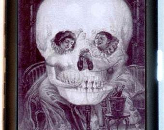 Skull Illusion Cigarette Case Couple Victorian Metamorphic Optical Illusion Goth Dark Art ID Business Card Credit Card Holder Wallet
