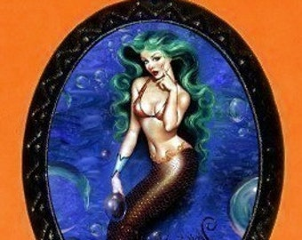 Mermaid Pinup Necklace Pendant Green Haired Mermaid Age of Aquarius Pin Up Mermaid
