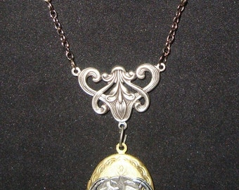 Victorian Steampunk Necklace Wings of Industry Locket Insect Gears Beetle