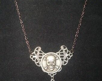 Victorian Steampunk Death Takes Flight Vampire Twilight Necklace Skull Bat New