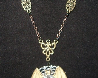 Victorian Steampunk Necklace Nocturnal Omission Bat Clock Gear Twilight Vampire