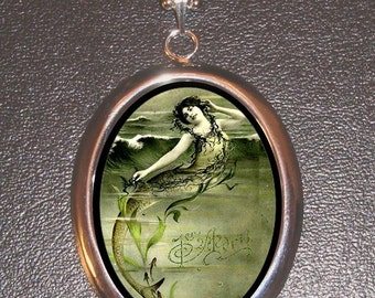 French Edwardian Mermaid Whimsical Design on a Chrome Finish Pendant with a ballchain necklace
