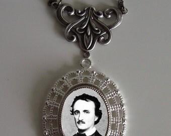 Beautiful Victorian EDGAR ALLAN POE portrait Victorian Silver-Tone Filigree Necklace Pendant