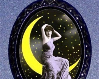 Moon Goddess Pendant Necklace Pinup Edwardian Victorian Whimsical Postcard Imagery