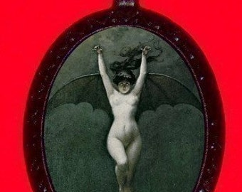 Vampire Lady Necklace Gothic Goth Surreal Bizarre Macabre Weird Victorian Pendant
