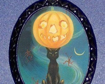 Vintage Halloween Cat with Moon Necklace Retro vintage Pendant rockabilly horror cool