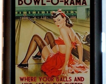 Bowling Cigarette Case or Bowler Pin Up Girl Business Card Holder Rockabilly Wallet Pulp Pinup Hepcat Bowl-O-Rama