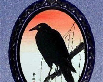 Blackbird Raven Crow Necklace Japanese Woodcut Pendant NEW