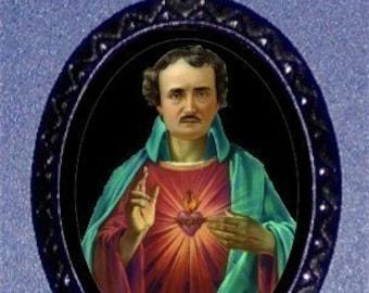 Saint Edgar Allan Poe Pendant Necklace Pop Surrealism Lowbrow Art Take on Classic Horror Goth Gothic Author Literary Parody