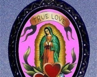 True Love Virgin Mary Tattoo Flash Art Pendant with silvertone ballchain