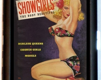 Showgirls Pinup Magazine Cover Cigarette Case Business Card Case Wallet Burlesque Pin Up
