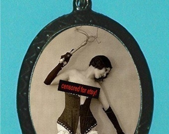 Flapper With Whip Necklace Pendant Risque BDSM Pinup Pin Up 20s Sexuality New S&M Bondage Fetlife Slave Master