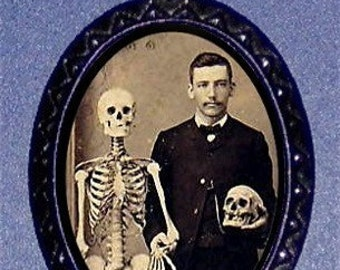 Victorian Doctor with Skeleton Necklace Medical Student Pendant Victoriana Creepy Gross Anatomy