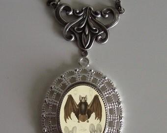 Beautiful Victorian BATS Victorian Silver-Tone Filigree Necklace Pendant