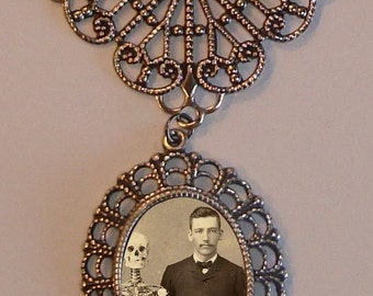 Beautiful Victorian MEDICAL Student with SKELETON and SKULL Victorian Silver-Tone Filigree Necklace Pendant