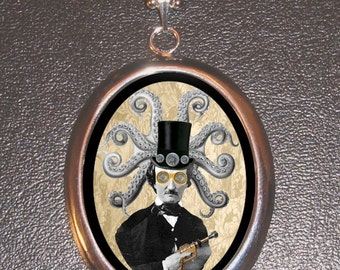 Edgar Allan Poe in Top Hat with Octopus Head Element - Silver Tone Pendant With Chain - Steampunk sweetheartsinner Design