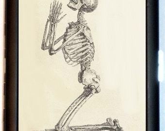 Skeleton Praying Cigarette Case Business Card Holder Wallet Anatomy Print Medical Oddity