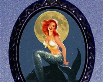 Mermaid In the Moonlight Pinup Pendant and Necklace Sweetheartsinner NEW Redhead