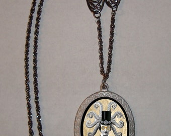 OctoPoe Edgar Allan Poe Victorian Steampunk Necklace with Octopus Charm and Elaborate chain
