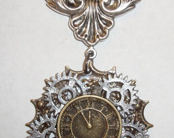 """Victorian Steampunk """"Gears of Time"""" Handmade Industrial Clock Gear Necklace"""
