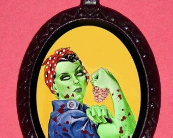 Zombie Rosie the Riveter Pendant Necklace Goth Horror Feminist Psychobilly Living Dead Zombie Apocalypse Undead