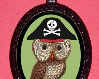 Pirate Owl Necklace Kitsch Kawaii Necklace Pendant Retro 1970s Owl as Pirate