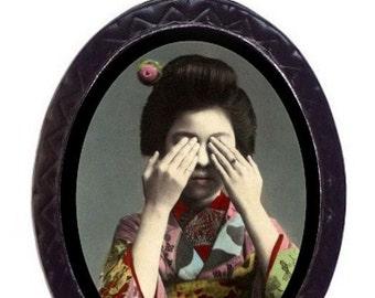 Japanese Woman Peek-A-Boo Japan Geisha Necklace Pendant