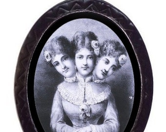 Three Headed Victorian Necklace Pendant Siamese Twin  Sideshow Freak Circus