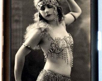 Cleopatra Belly Dancer Cigarette Case Art Deco Flapper Belly Dancing 1920's Gypsy Boho ID Business Card Credit Card Holder Wallet