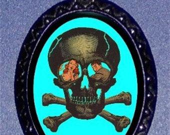 Skull & Crossbones Pirate Pendant Necklace Comic Book Art
