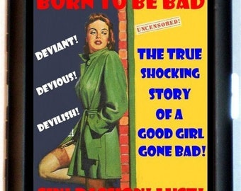 Born to Be Bad Cigarette Case Business Card Case Wallet Pulp Pinup Gal Retro Design Fifties