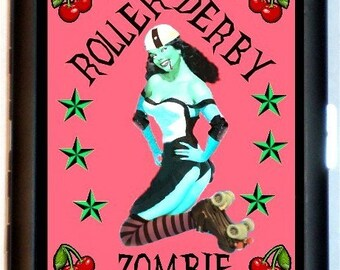 Roller Derby Zombie Cigarette Case Business Card Holder Wallet Pinup Roller Skater Pin Up Lowbrow Art Roller Skates Skating