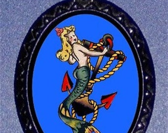 Tattoo Mermaid Sailor Gal Pendant necklace Tattoo Flash Art Retro Kitsch