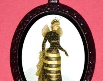 Victorian Woman in Bee Costume Necklace Pendant Surreal Esoteric Victoriana Halloween Costume