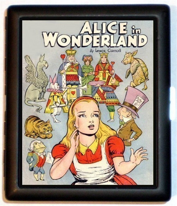 Alice in Wonderland Comic Style Cigarette Case Surreal Image Mad Hatter Queen of Hearts Lewis Carroll ID Holder Business Card Case Wallet
