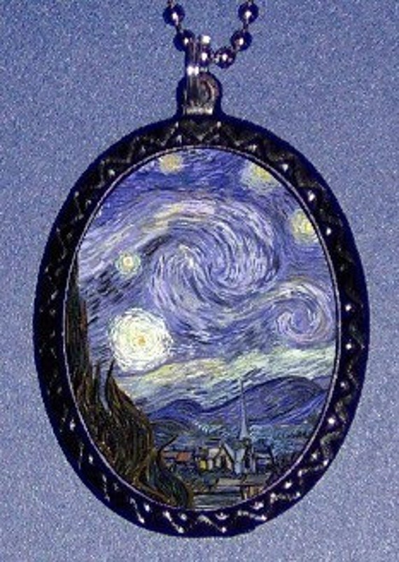 Starry Night Necklace Vincent Van Gogh Pendant Impressionism Fine Art Dreamy Sky Art Lover