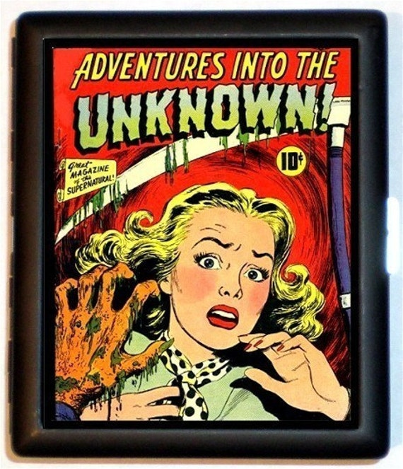 Adventures in the Unknown Comic Pop Art Cigarette Case or Wallet Business Card Case