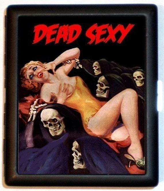 DEAD SEXY Cigarette Case Wallet Rockabilly Horror Retro Pinup with Grim reapers Skeletons