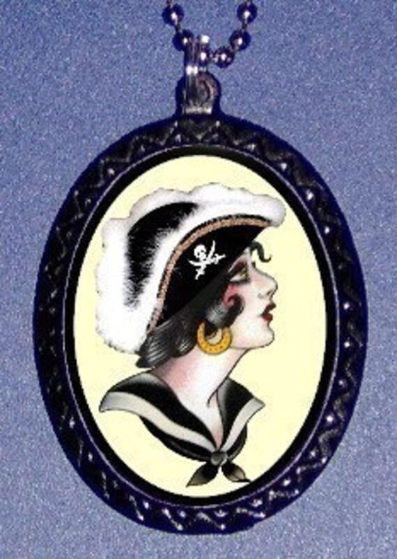 Tattoo Pirate Girl Necklace Pendant  Tattoo Flash Art Vintage Retro Old School