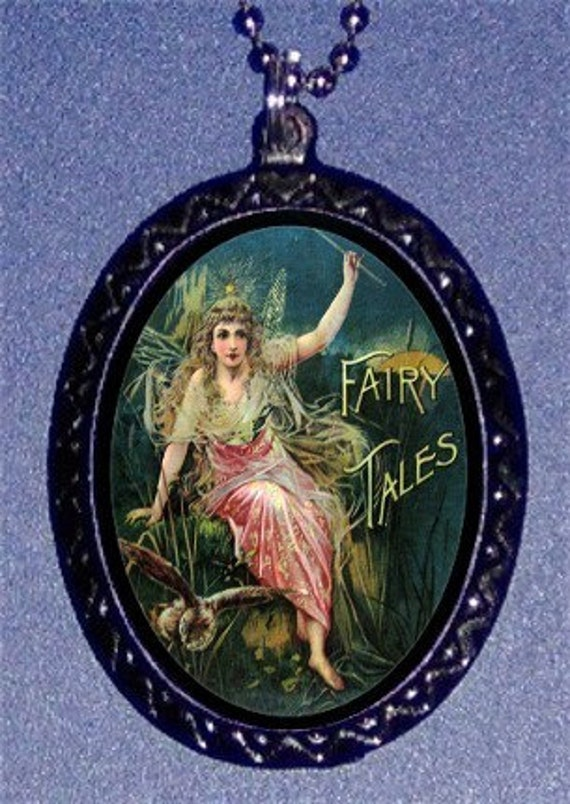 Grimm's Fairy Tales Necklace 1890's Book Cover Art Pendant Angelic Fairy with Magical Owl Necklace