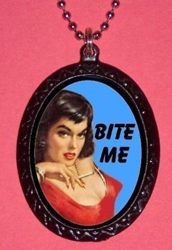 Bite Me Necklace RETRO sexy Pulp Pinup Bad Attitude Pendant Necklace Rockabilly Burlesque New