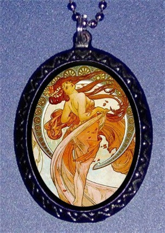 Dancing Mucha Artwork Necklace and Pendant Edwardian Victorian Era Long Haired Beauty
