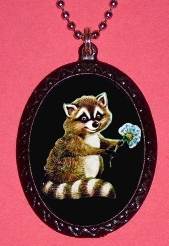 Raccoon Necklace Kawaii Loveable Animal Holding Flower Super Cute Pendant Necklace