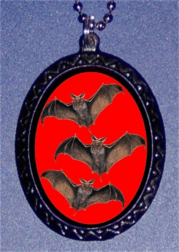 Bats Necklace Vintage Halloween Flying Bats Pendent Red and Black Vampire Bats