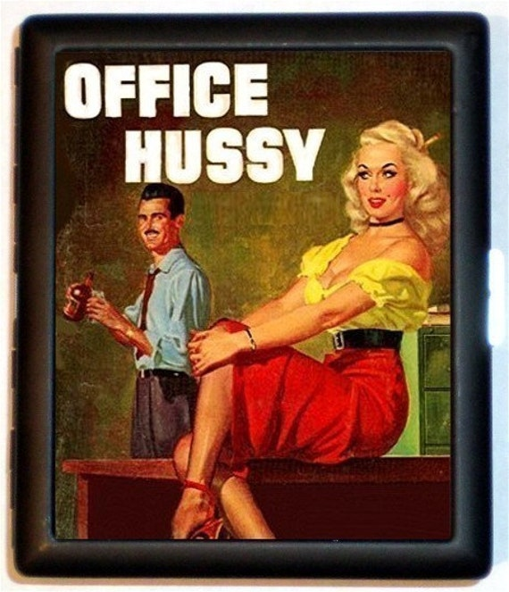 Office Hussy Cigarette Case Business Card case Wallet Workplace Cubicle Sexist Humor Retro