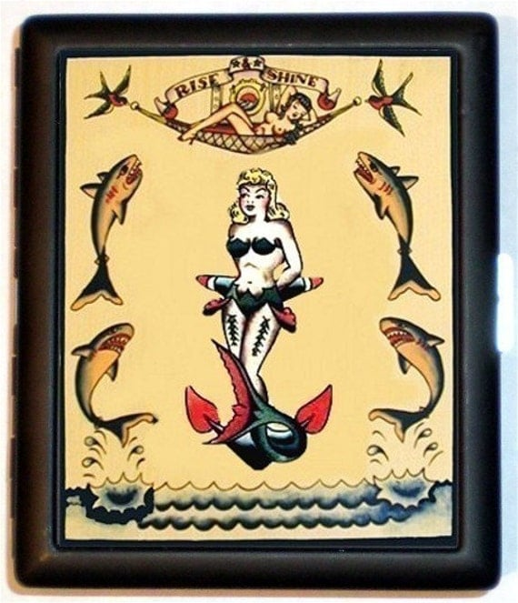 Mermaid Tattoo Flash Cigarette Case Wallet Business Card Holder Kitsch Mermaid Sharks Nautical Sailor Girl Anchor Bad Girl Pin up