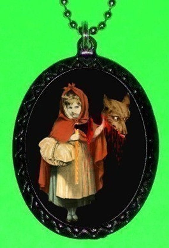Little Red Riding Hood Slays Wolf Necklace Fairy tale Subversion Gothic Psychobilly AXE Blood Horror Pendant
