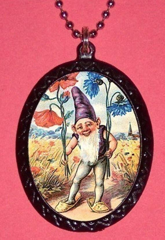 Garden Gnome Pendant Necklace Classic retro mondo trash Punk Rockabilly SHS Elfish elf Kitsch